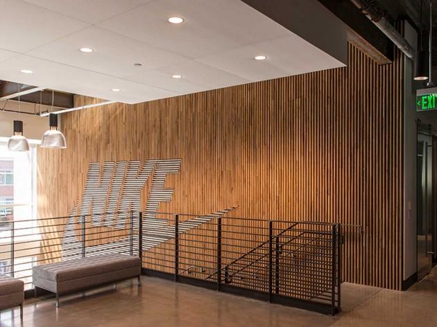 艺术和建筑的结晶:nike木质景观墙