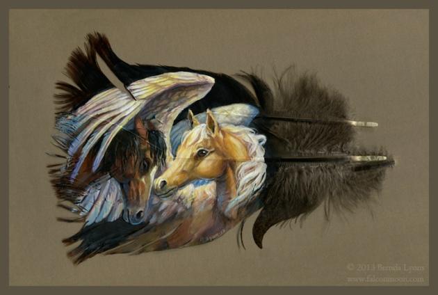 野生火鸡羽毛上创作的动物肖像画